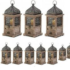 Lot 10 Large Lantern Wood Candle Holder Wedding Centerpieces with Drawer