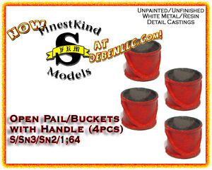 FinestKind Models Open Pail/Buckets with Handle (4pcs) NOS S/Sn3/Sn2/1:64