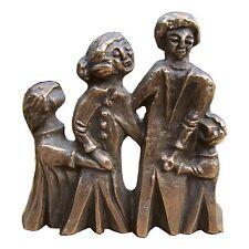 Bronze Figur Familie Nachwuchs unterwegs 19cm sculpture young family on the way