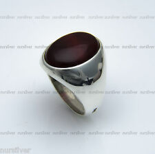 Plain Sterling Silver mens ring with Agate stone. Nur Silver 925. Hand made ring