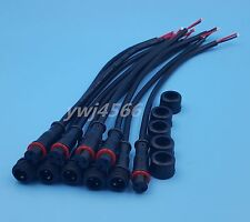 5Pairs 2Pin IP65 Waterproof Connector 0.3mm Male & Female Black Cable 22AWG