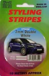 White 2mm x 10mtr Twin Self Adhesive Car Pin Stripe Coach Tape Styling Stripe