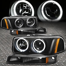 [Led Halo]For 99-07 Gmc Sierra Yukon Xl Projector Headlight Bumper Lamps Black (Fits: Gmc)