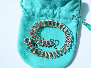 """Tiffany & Co Sterling Silver Open Double Hearts Articulated Chain Bracelet - 7"""""""