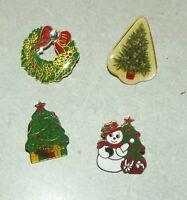 Merry Christmas 4 Pins Holiday Tree w Star Snowmen Wreath Tree Figure 4 Broches