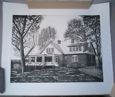 Listed Texas Artist Mary Cranfill Curtis Lithograph Bixby Ranch House Wyoming
