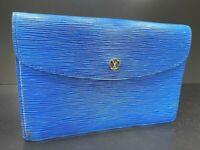 Auth LOUIS VUITTON Montaigne 27 Clutch Bag M52655 Epi Leather Blue 57816905