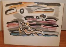 Nude on Beach & Swimmers Expressionist/Modernist Painting-50s-I.Louis Winarsky