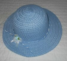 New Baby Blue Straw Style Hat Girls Or Small Ladies