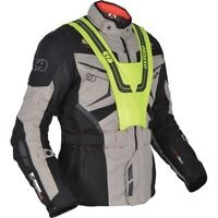 Oxford Ankara Long Waterproof Textile Motorcycle Motorbike Jacket Grey Black
