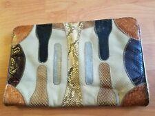 PALIZZIO Snakeskin Style Purse Clutch Handbag  Patchwork 13X9
