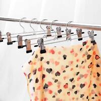 5x 30cm Home Strong Metal Clip Hangers Clothes Coat Trouser Skirt Hooks Rack NEW