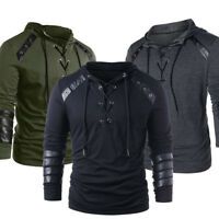 Men'S Lace Up Faux Leather Hooded Hoodie Casual Sweatshirt Pullover Sweater Coat
