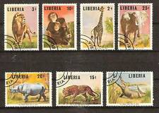 LIBERIA # 451-7 Used ELEPHANT LION LEOPARD WILD ANIMALS