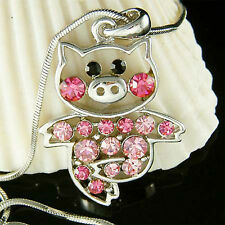 w Swarovski crystal Pink PIG Piggy Piglet Charm Pendant Chain Necklace Cute Xmas