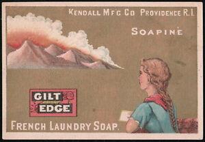 SOAPINE SOAP Kendall Mfg Co Girl Wishing w/Love Letter Vtg Victorian Trade Card