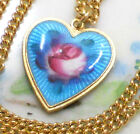 #1457 Vintage Sarah Coventry Signed Necklace Guilloche Enamel Heart Charm Blue