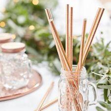 Rose Gold Paper Straws x 25  Party Drinking Straws Wedding Golden Anniversary