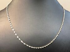 """Twisted Link Necklace 18"""" Solid Sterling Silver 925"""
