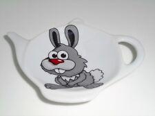 BN Ceramic Rabbit Tea Bag Rest Holder, Tea Bag Rest,  Rabbit Teabag Holder Gift