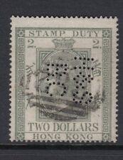 Hong Kong 1874 $2 Verde fiscal Perfin utilizado SGF1