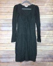Newport News Womens Dress Sz S Cotton Blend Angora Charcoal Grey Bib Front