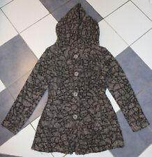 Lamm Strickmantel/ Strickjacke mit Kapuze in grau/schwarz Größe M für Damen