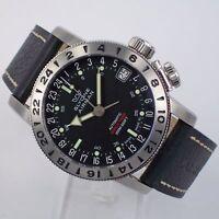 Glycine Airman 17 Automatik Worldtimer Herrenuhr Edelstahl Uhr 3865.19-66 GMT