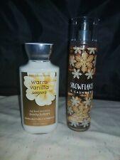 Bath & Body Works Warm Vanilla Sugar Lotion & Snowflakes & Cashmere Spray