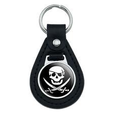 Pirate Skull Crossed Swords Jolly Roger Black Leather Keychain