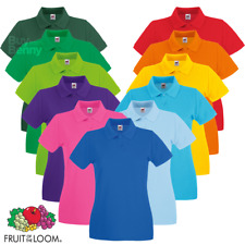 Fruit Of The Loom POLO SHIRT FITTED FIT COTTON COLLAR SMART CASUAL LADIES WOMEN