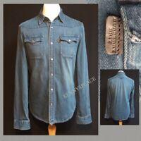"BURBERRY BRIT Denim Shirt (M) *GREAT COND* Washed Blue Pit-Pit 21"""