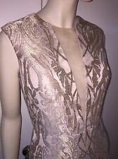 OSCAR DE LA RENTA SHEER LACE BEIGE GOLD EMBROIDERED DRESS Size 10