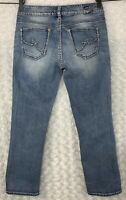 Silver Jeans Co. Women's Suki Capri Size 28 30 W x 26 L Blue Denim Thick Stitch