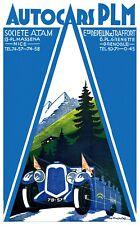 Affiche chemin de fer PLM - Autocars PLM
