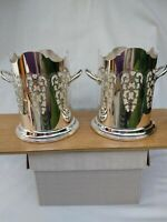 RARE PAIR Stunning ART DECO Antique Bottle Stands Large Quality Silver Plate VGC