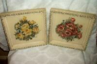 1940s TURNER AIRBRUSH ROSES POPPIES PRINTS CREAMY GRAY ORNATE FRAMES VINTAGE
