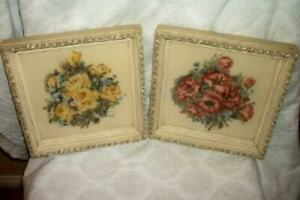 1940s ROSES POPPIES AIRBRUSH PRINTS FRENCH FARMHOUSE CREAMY FRAMES TURNER