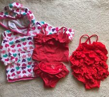 Baby Gap Swimsuit Lot One Piece Ruffles Girl's 6-12M + Terry Cover-up Hearts