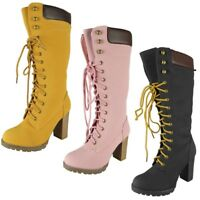 Womens Ladies Mid Calf Grip Sole Boots Lace Up Casual High Heel Bootie Shoe Size
