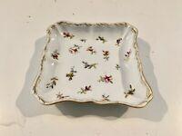Vintage Antique German Meissen Porcelain Square Dish with Floral Decoration