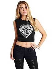 Guess Women's Sleeveless Heart Graphic Logo Crop Top In Black Size L