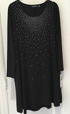 NINA LEONARD long sleeve dress black studded shift  spandex L NWT