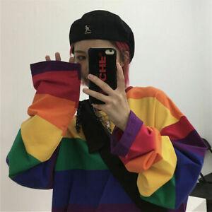 Autumn Women Rainbow Harajuku Stripe T-shirt Cotton Loose Long Sleeve Top M-4XL~
