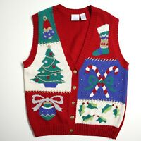 TACKY CHRISTMAS SWEATER VEST by LAURA GAYLE, s PETITE PM, red, candy cane, tree