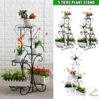 5Tier Metal Plant Pot Stand Flower Iron Shelf Rack Garden Home In Outdoor 8-10KG