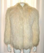 Mongolian Tibetan Curly Lamb Ivory White Real Natural Fur Coat Jacket Small S