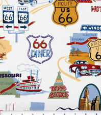"""14ROUTE 66 HIGHWAY IMAGES TRAVEL SIGNS VALANCE CURTAIN APPROX 41"""" X 14"""""""