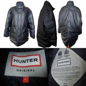 Men's Hunter Puffa Down Black Long Coat XL