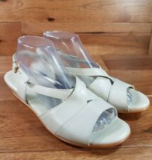 SAS Woman's Caress Bone Leather Comfort Wedge Sandals Slingbacks Wide Size 9.5 W